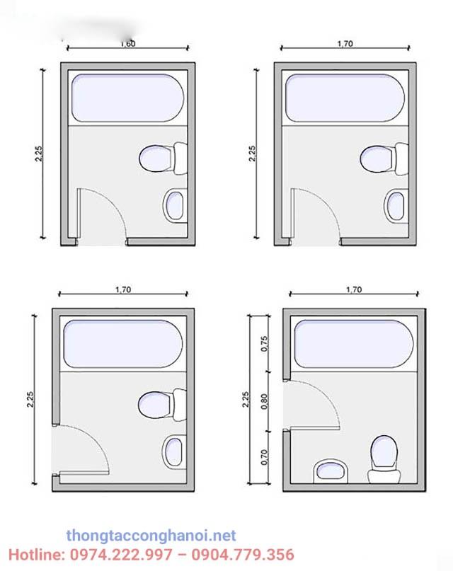 Bản vẽ thiết kế nhà vệ sinh nhỏ, gọn