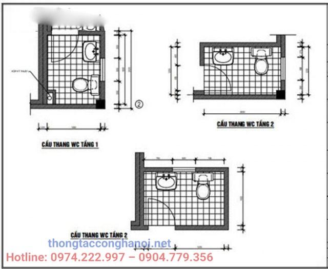 Bản vẽ nhà vệ sinh cho nhà ống